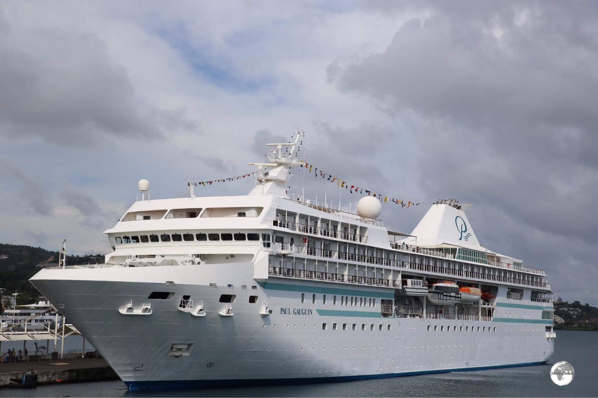 The 'Paul Gauguin' cruise ship in Papeete harbour.