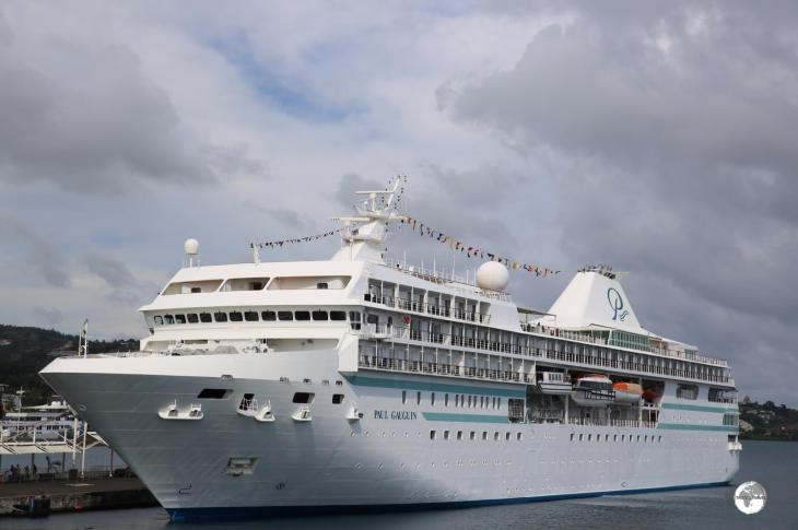 French Polynesia Travel Guide: The 'Paul Gauguin' cruise ship in Papeete harbour.