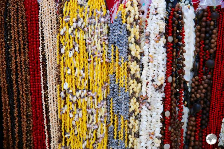 Necklaces for sale at Papeete market.