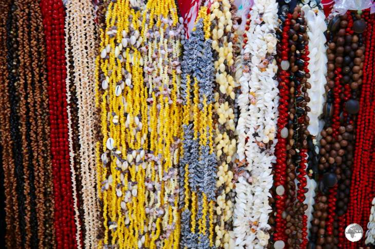 Handmade necklaces for sale at Papeete central market.