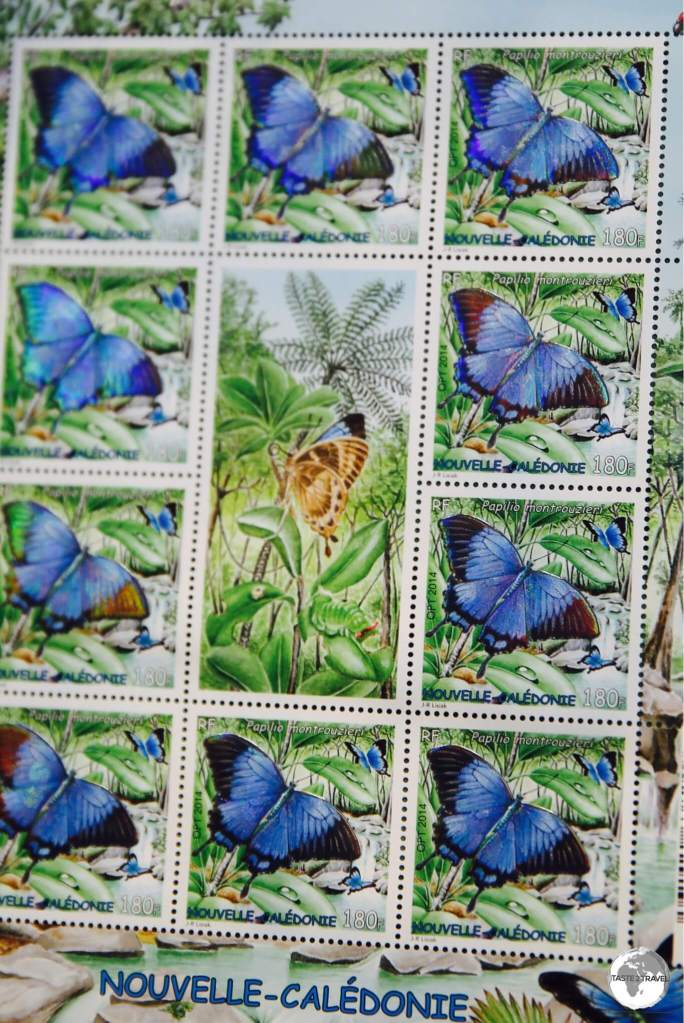 Stamp artwork from New Caledonia often features the colourful fauna and flora found throughout the archipelago.