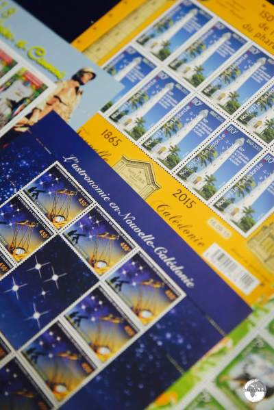 Stamps on sale at the OPT philatelic shop - Calédoscope.