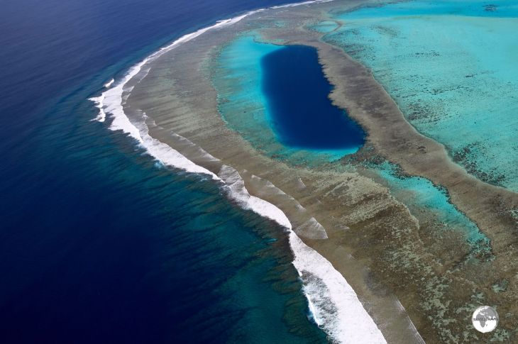 Approaching the Blue Hole, which is protected by its own fringing reef.