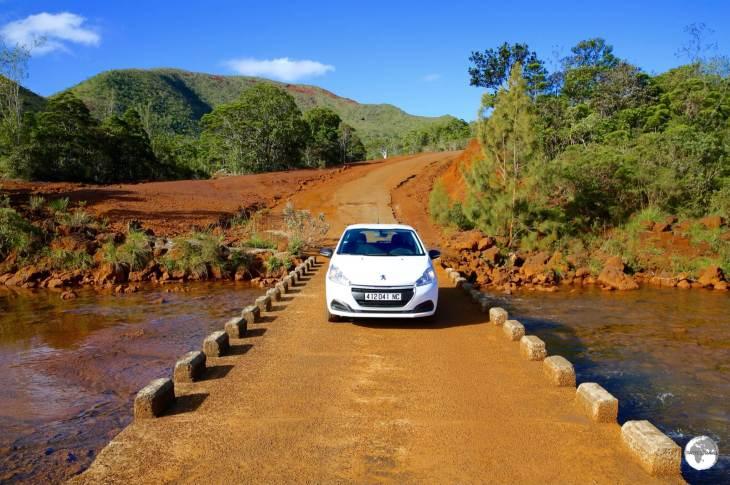My trusty rental car, crossing a river crossing in a remote corner of the Grand South region.