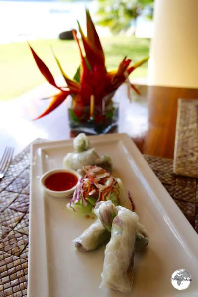 Very fine Vietnamese spring rolls for lunch at The Havannah resort.