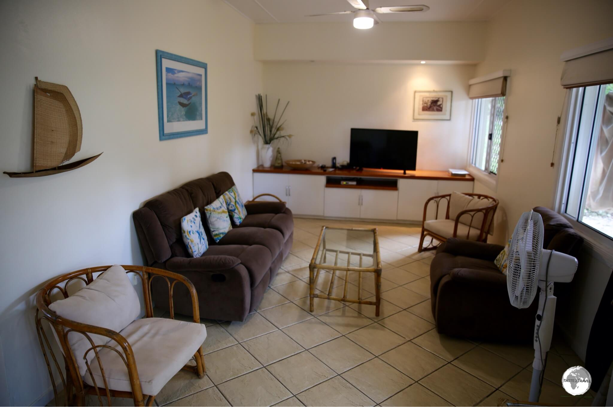The living room in 'The Cottage' at Seachange Lodge.