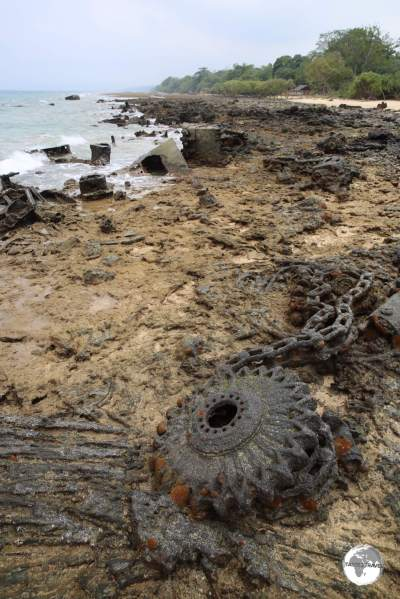 Rusty WWII relics litter the beach at Million Dollar Point.