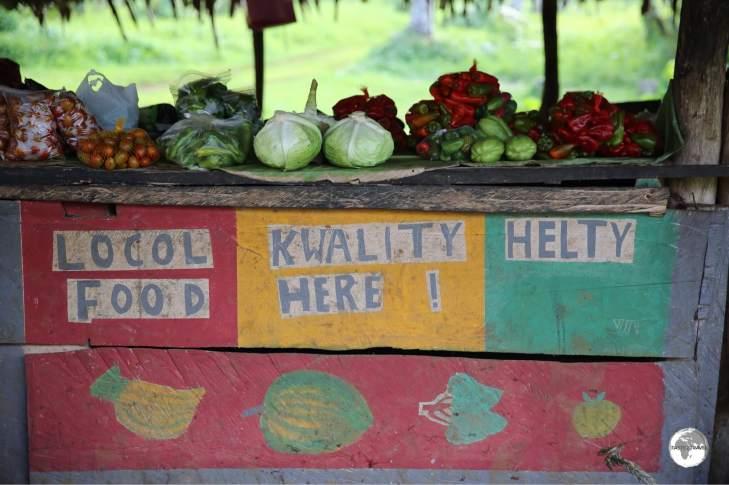 Roadside food stand on Santo.