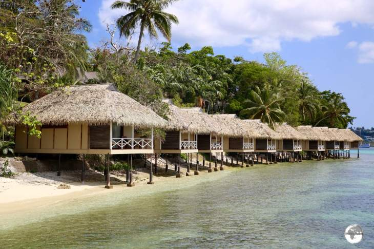 Waterfront bungalows at the private island, Iririki Resort and Spa, in Port Vila.