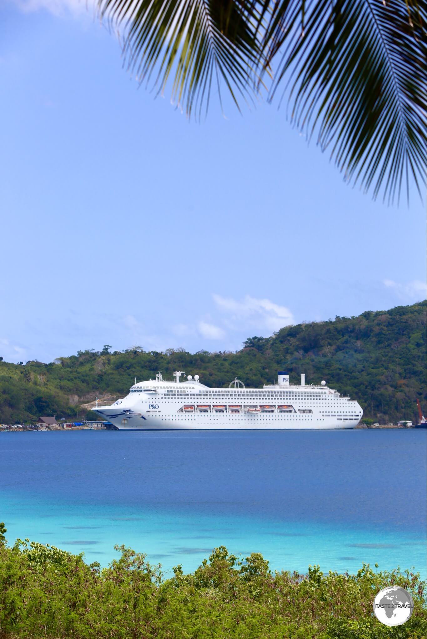 A P&O cruise ship in Port Vila.