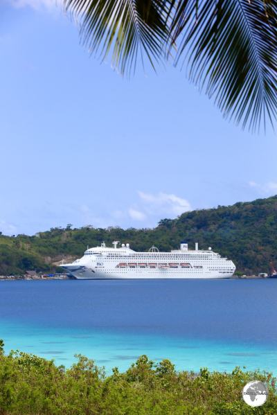 A P&O cruise ship in Port Vila.