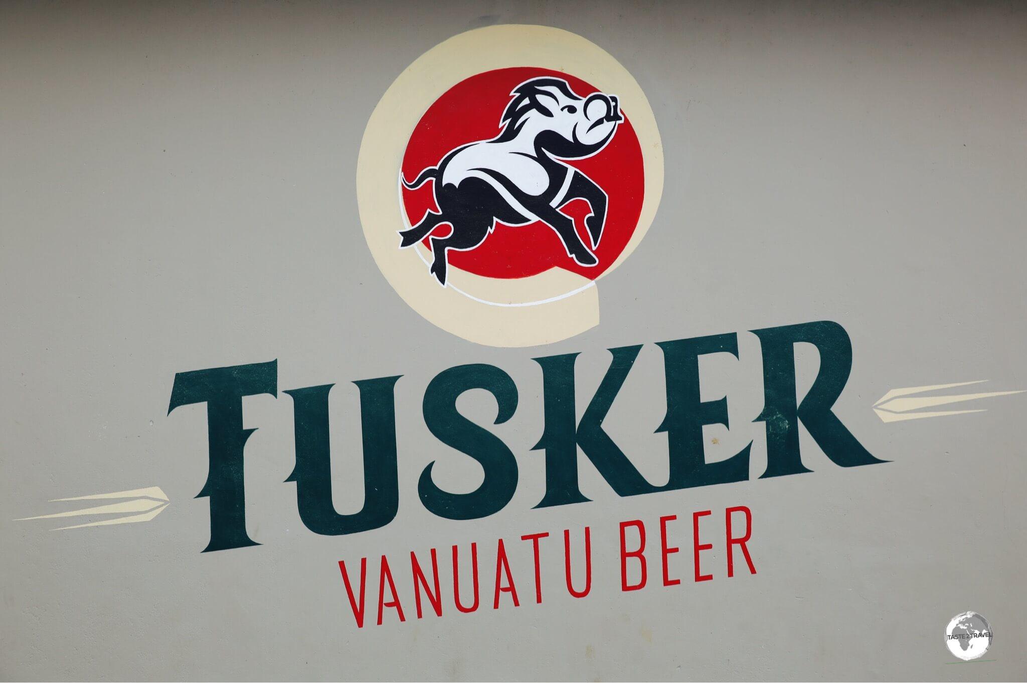 A Tusker Beer advertisement in Port Vila.