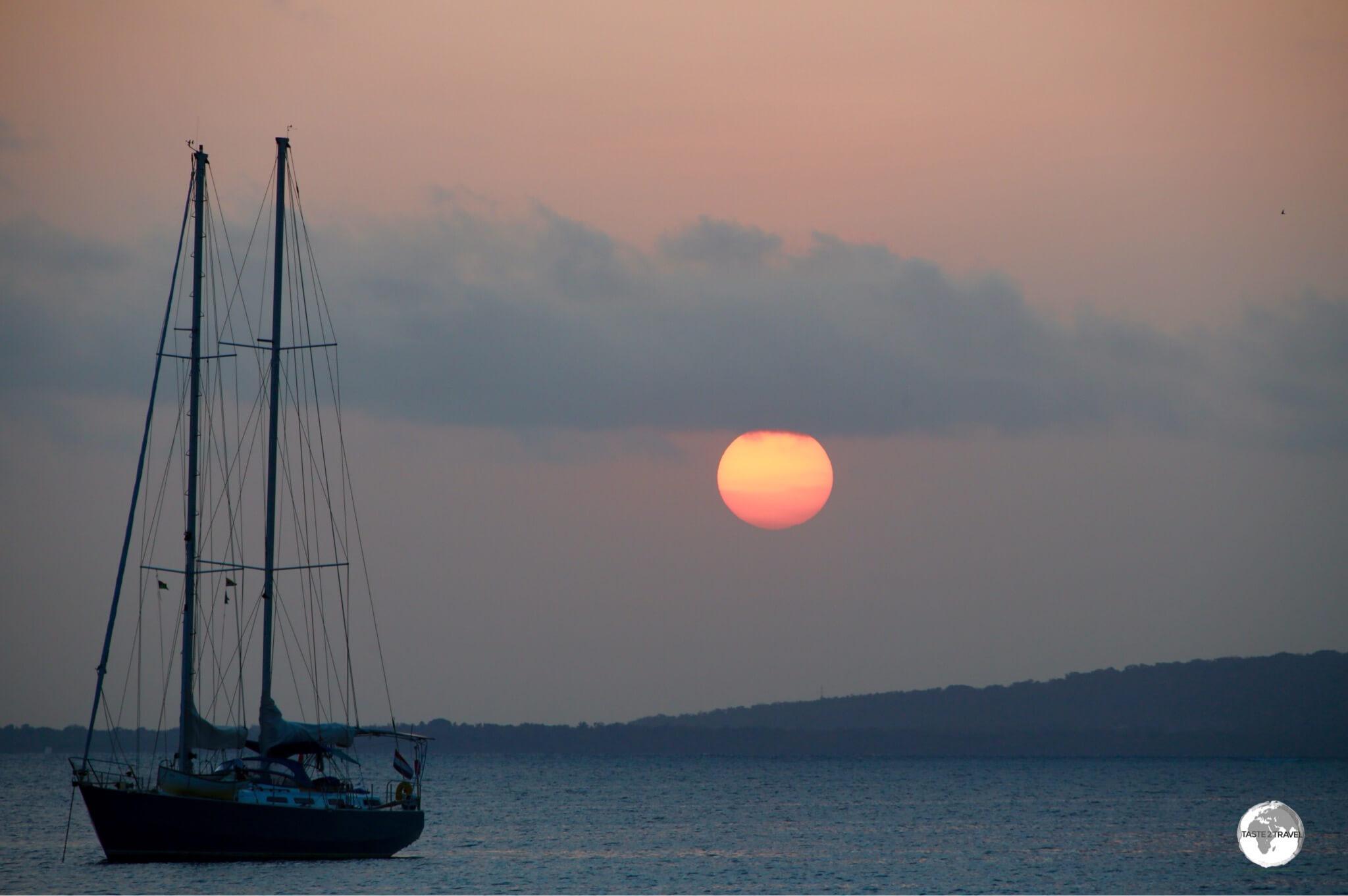 Sunset over Port Vila harbour.