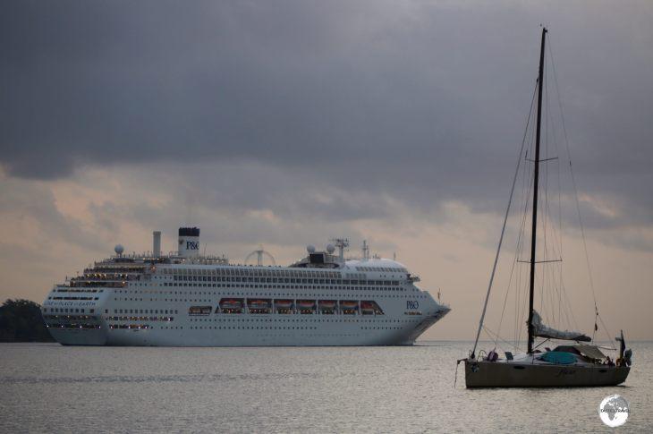 A cruise ship departing Port Vila.