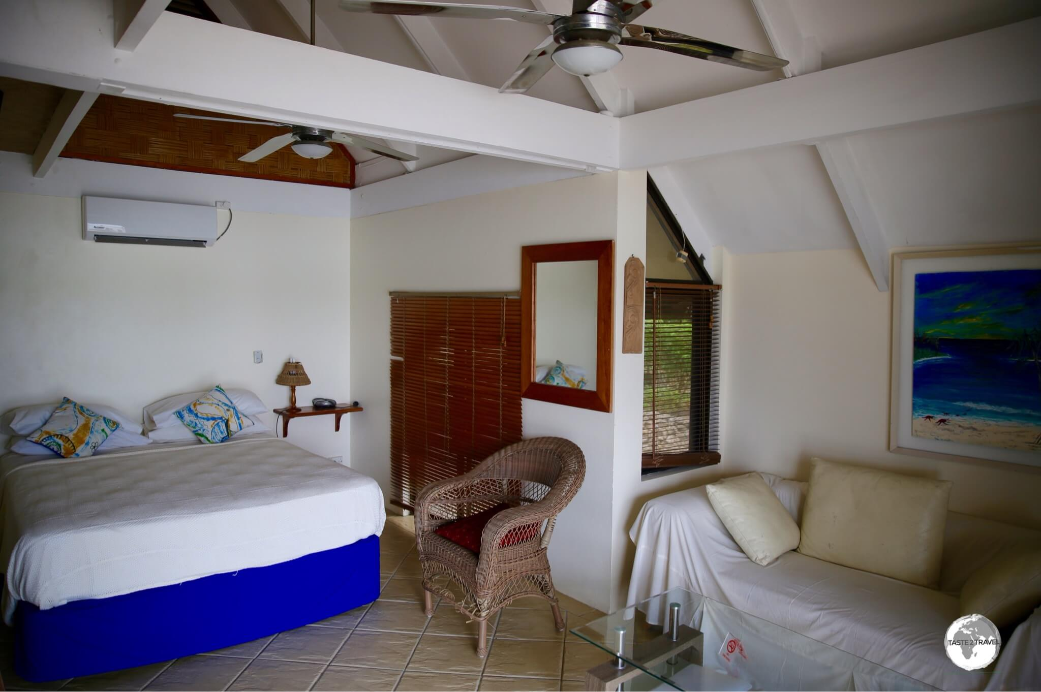 The bedroom in the 'Lagoon bungalow' at Seachange Lodge.