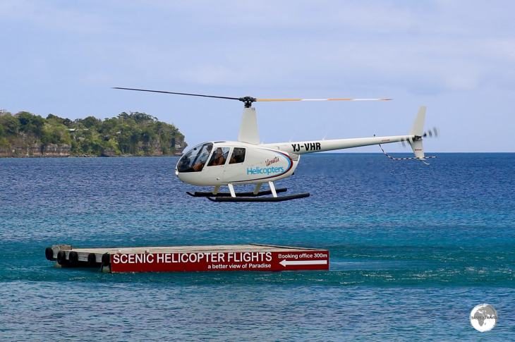 Flights with Vanuatu Helicopter depart from their floating helipad in the harbour.