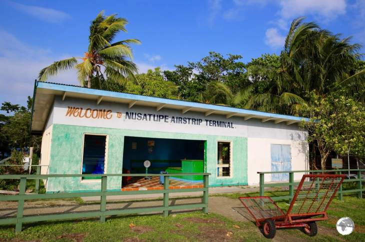 Nusatupe airport in Gizo is built on its own island, requiring a boat transfer across a sometimes rough channel to Gizo.