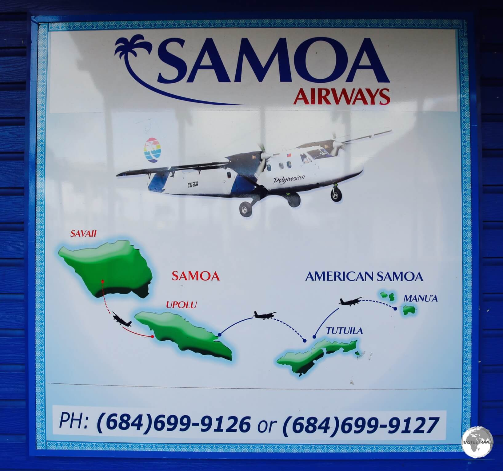 Samoa Airways 'route map' at Pago Pago airport.