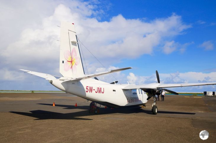 My Talofa Airways flight at Pago Pago International airport.