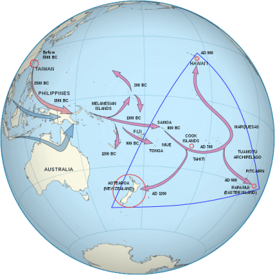 A map of the Polynesian Triangle.