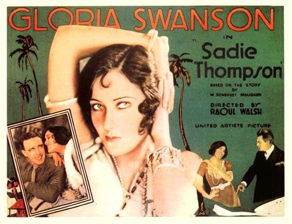 "Promotional poster for the 1928 silent film, ""Sadie Thompson""."