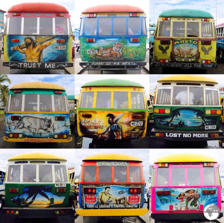 Samoa buses are adorned with fantastic artwork.