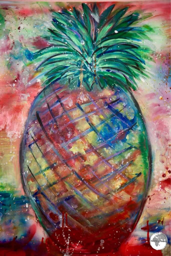Pineapple artwork at the Meilelani Samoa factory.