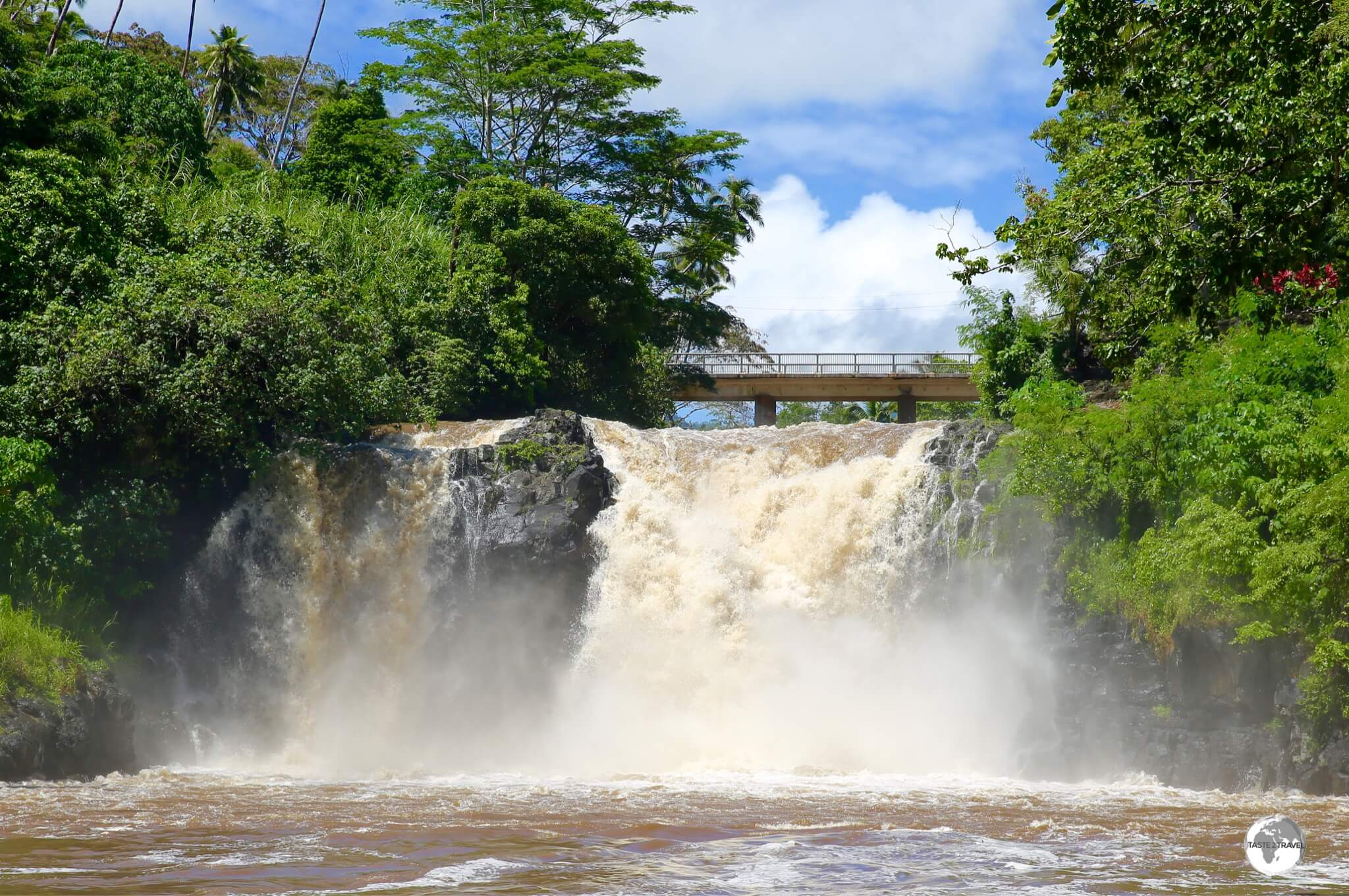 The impressively powerful Falefa Waterfalls.