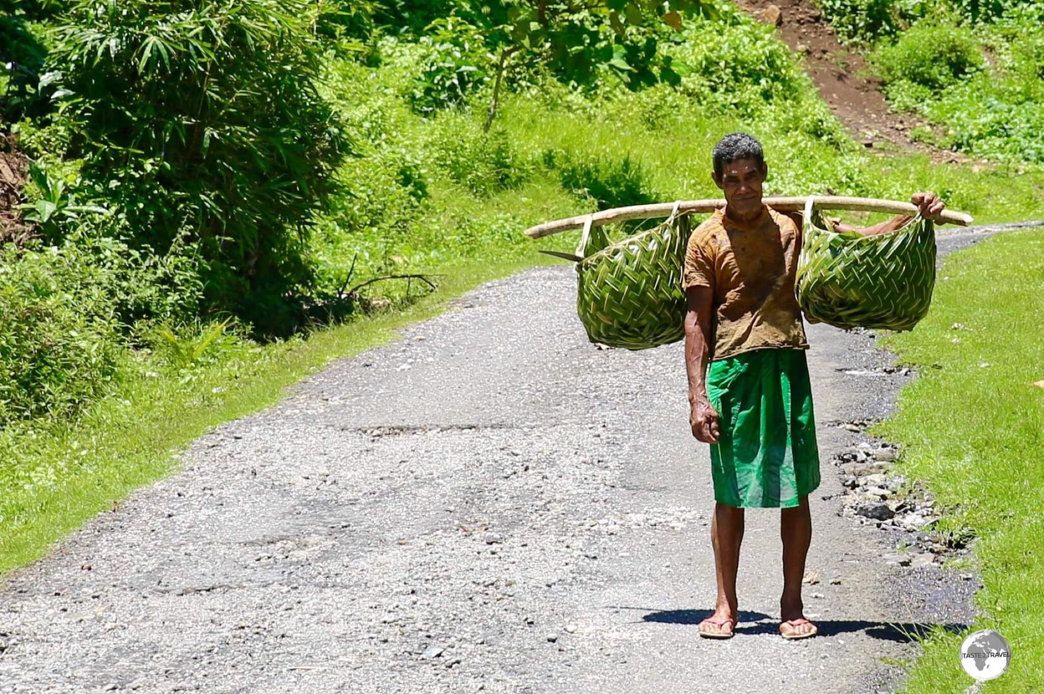 A villager from Saletele returning home with freshly picked bananas.