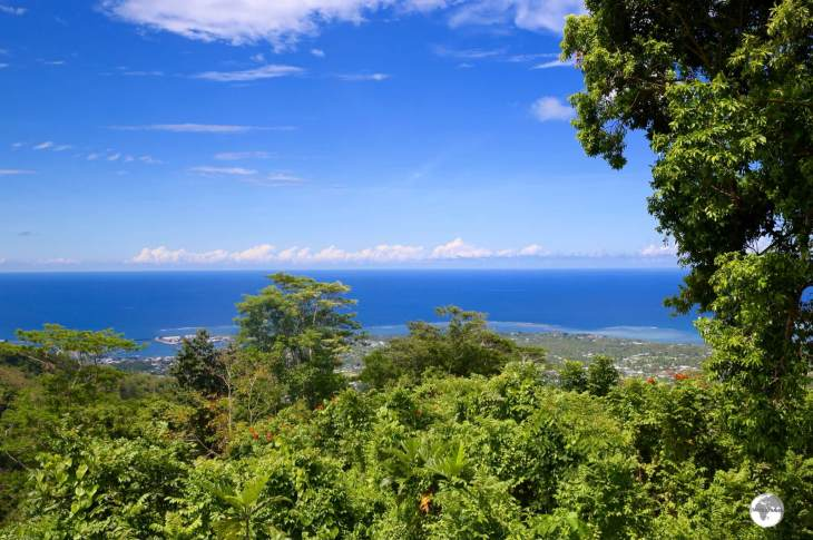 The panoramic view over Apia and the Pacific Ocean from Mount Vaea.
