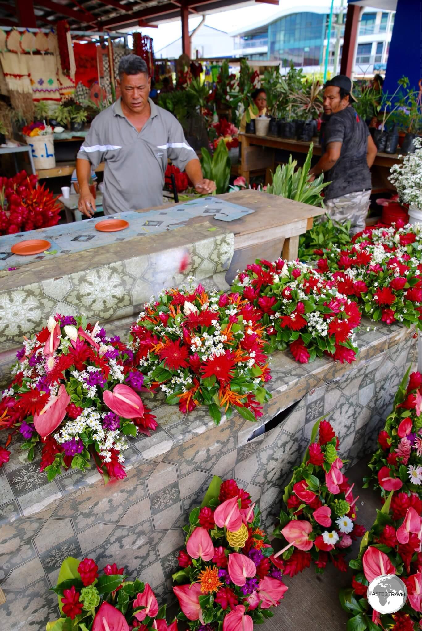 Flower seller at Fugalei market.