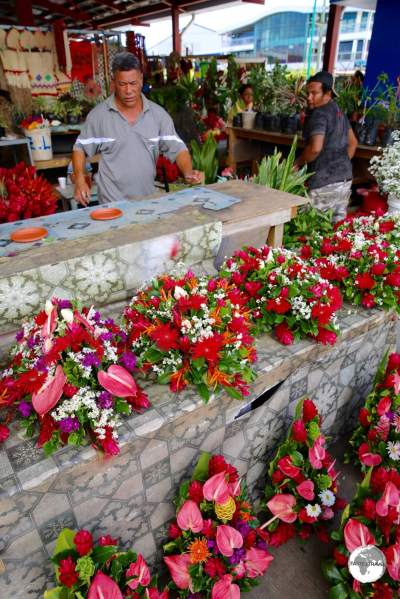 Flower seller at Apia's Fugalei market.