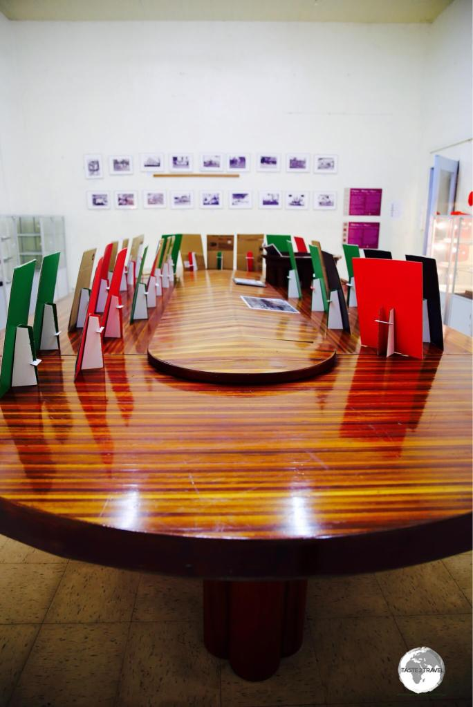The 'Cabinet Meeting Table' has played a long role in Samoan politics and features seventeen different species of native Samoan wood.
