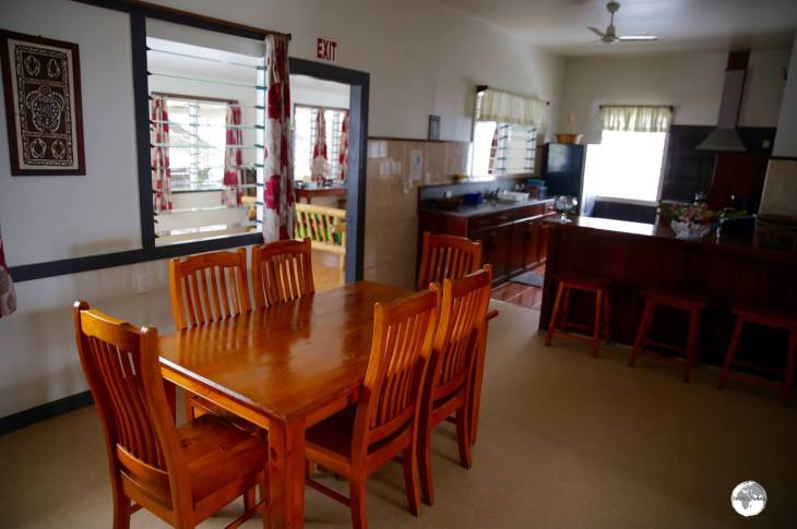 The communal kitchen at Talofa Inn.