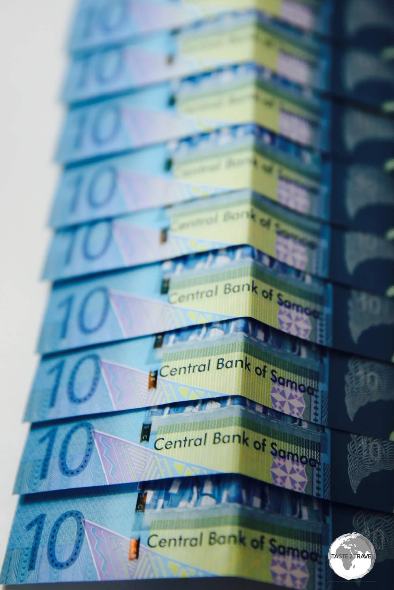Samoan 10 Tala bank notes.