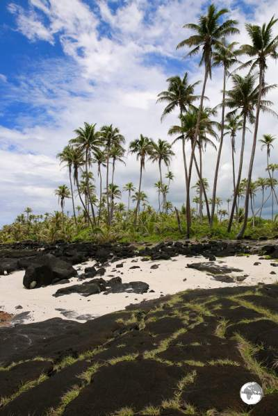 Ancient lava flows cover the beach around the Alofaaga blowholes.