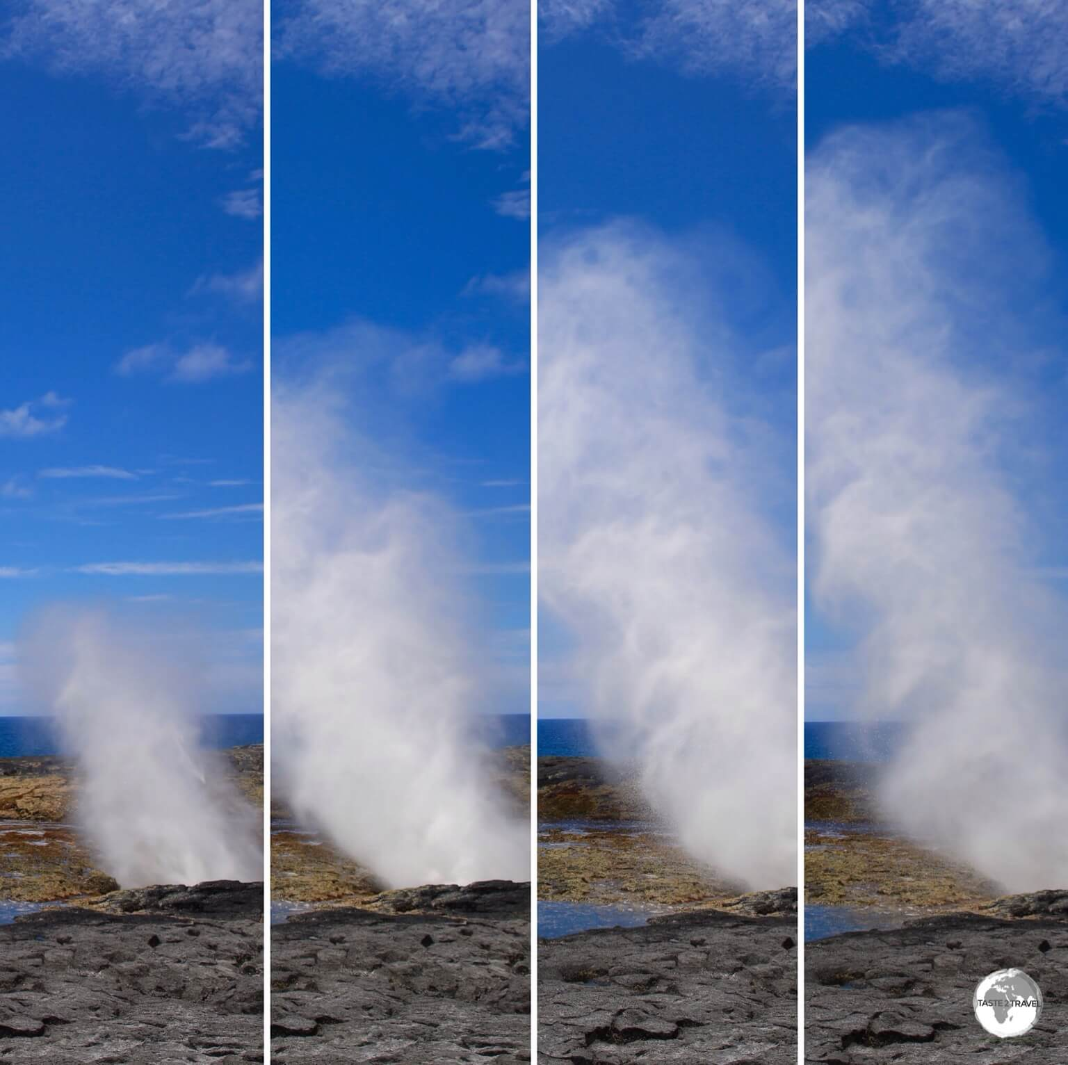 A photo sequence showing the life cycle of a Alofaaga blowhole.