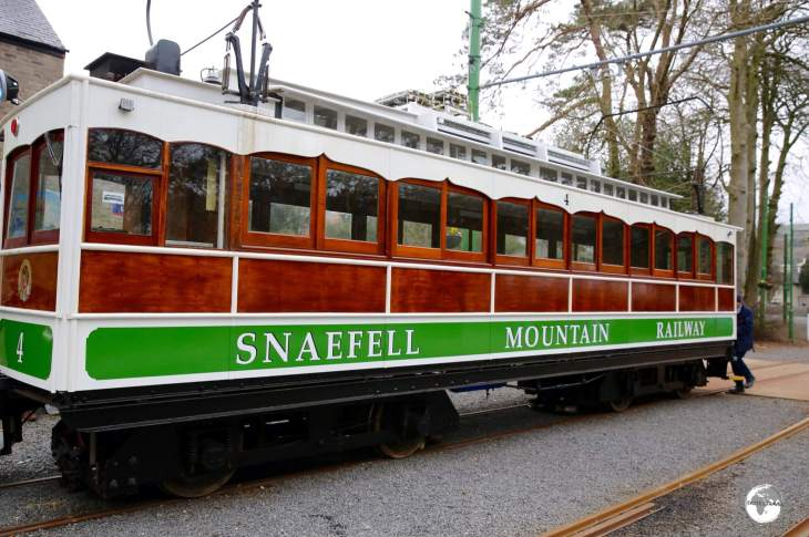 The Snaefell Mountain Railway ready to depart Laxey for the climb to the summit of Mount Snaefell.