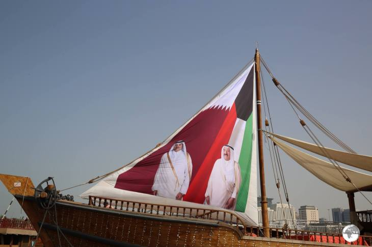 A sail on a dhow in Doha harbour shows the comradery shared between the Emirs of Kuwait and Qatar.