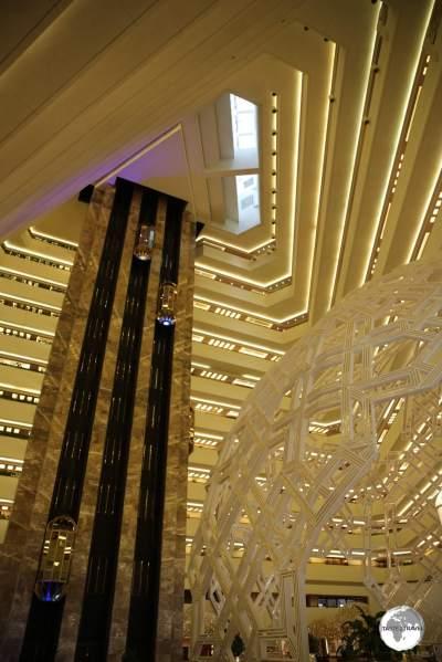 Lobby of the Sheraton Grand resort in Doha.