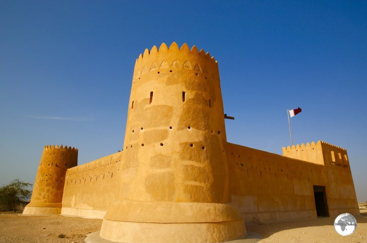 Al Zubarah fort aglow in the afternoon sunlight.