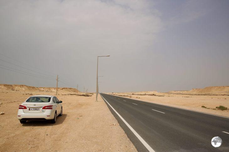 On the road to Zakreet in my rental car.