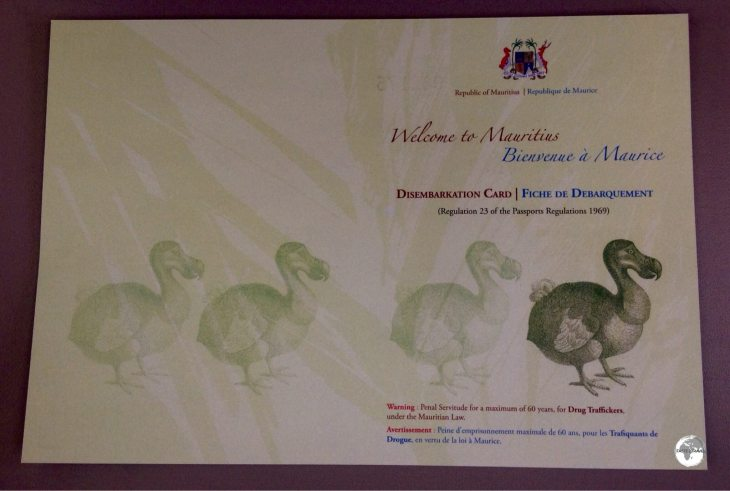 The Mauritian arrival card features the Dodo.