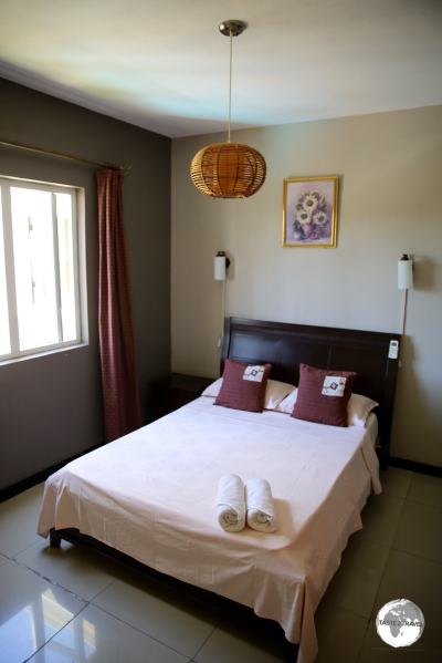 The bedroom of my villa at Villa Narmada in Grand Baie.