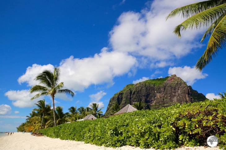 The landscape of Le Morne peninsula is dominated by the dramatic Le Morne Brabant.