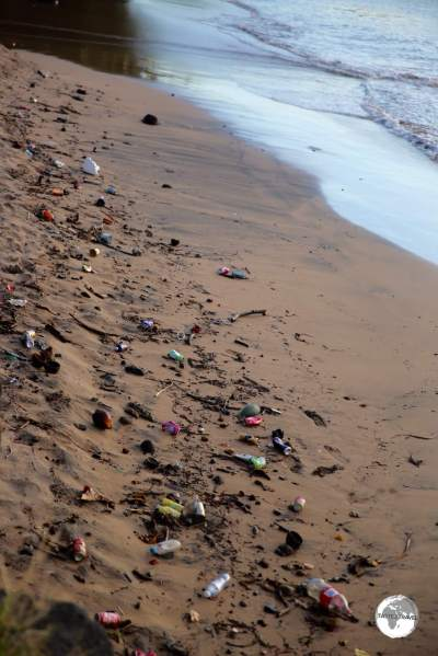 A beach, covered with litter, in the east coast town of Sada.