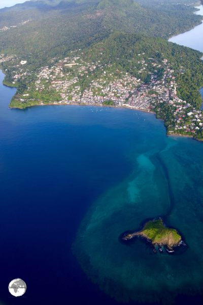 The west coast town of Sada as seen from my ultralight flight over Mayotte.