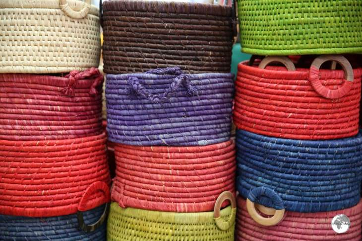 Colourful, handwoven baskets are just some of the items to be found at the <i>Grand Marché</i> in Saint Denis.