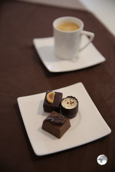 Coffee and chocolates, made from locally grown cacao, served at a cafe in Saint Denis.
