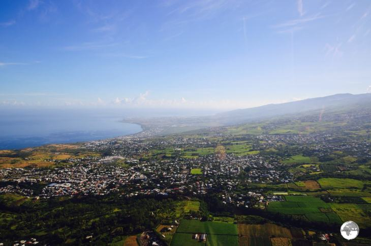 A view of the west coast of Réunion from my Corail helicopter flight.